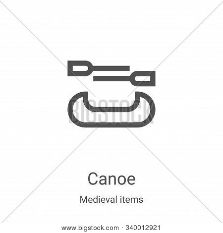 canoe icon isolated on white background from medieval items collection. canoe icon trendy and modern