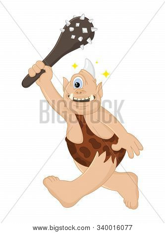 Funny Cartoon Vector Cyclops Caveman With A Cudgel Hunts. Ancient Mythical Creature. Cute Troll. Des