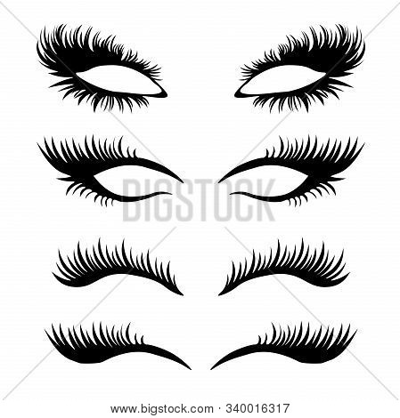 Lashes Set. False Eyelashes Collection. Woman Beauty Product Vector. False Lashes Realistic. Trendy