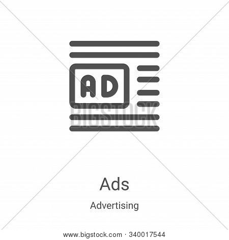 ads icon isolated on white background from advertising collection. ads icon trendy and modern ads sy