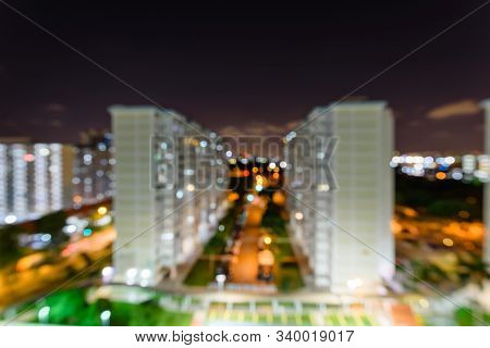 Blurry Background Modern Eunos Hdb Complex In Singapore At Evening