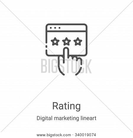 rating icon isolated on white background from digital marketing lineart collection. rating icon tren
