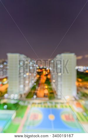 Blurry Background With Copy Space Of Eunos Hdb Complex In Singapore At Evening