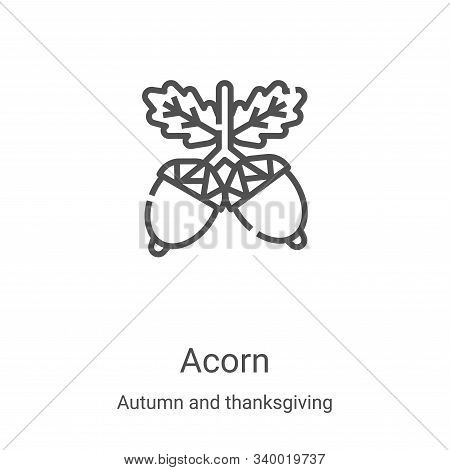 acorn icon isolated on white background from autumn and thanksgiving collection. acorn icon trendy a