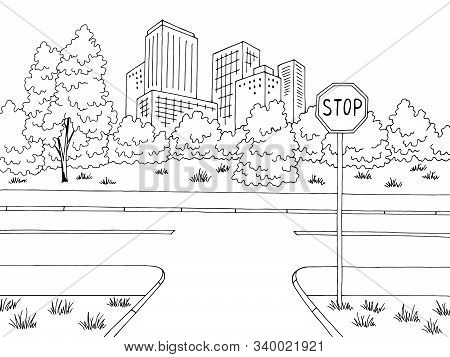 Crossroad Street Road Graphic Black White City Landscape Sketch Illustration Vector