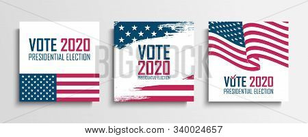 2020 United States Presidential Election Set. Usa Elections Vote Cards Collection. Vector Illustrati