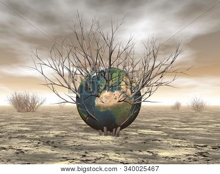 Danger Of Dryness On The Earth Concept - 3d Render