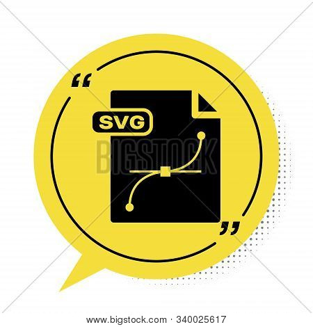 Black Svg File Document. Download Svg Button Icon Isolated On White Background. Svg File Symbol. Yel