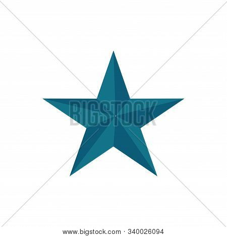 Blue Star Shape Isolated On Black Background. Blue Star Icon. Blue Star Logo, Image Of Star Symbol F