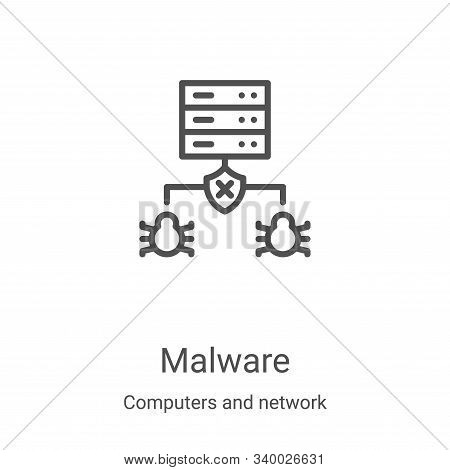 malware icon isolated on white background from computers and network collection. malware icon trendy