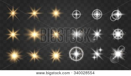 Glow Light Effect. Vector Illustration. Christmas Flash.  Sparkling Magical Dust Particles. Bright S