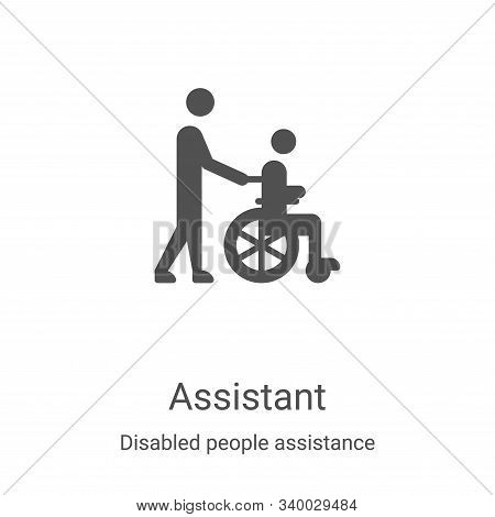 assistant icon isolated on white background from disabled people assistance collection. assistant ic