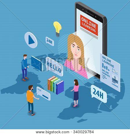 Online Education Training Coaching, Workshops And Courses. Flat 3d Isometric Design. Students Studyi