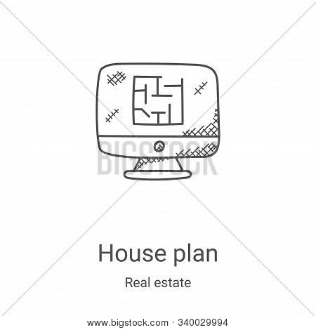 house plan icon isolated on white background from real estate collection. house plan icon trendy and