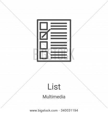 list icon isolated on white background from multimedia collection. list icon trendy and modern list