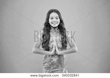 Meditate To Draw Yourself Inward. Little Child Meditate With Mudra Gesture. Small Girl Learn To Medi