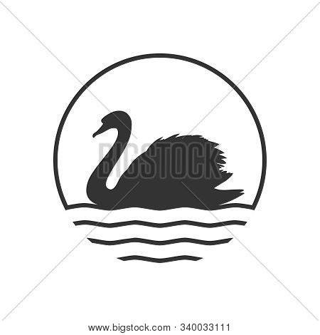 Swan Graphic Icon. Swan On The Water Sign In The Circle Isolated On White Background. Logo. Vector I