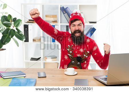 Hurray For The Holidays. Happy Hipster Celebrate Holidays In Office. Bearded Man Smile With Winter L