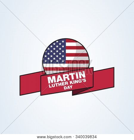 Martin Luther King Jr. Day Greeting Card Type Design Vector Elements. Mlk Vector Poster On Usa Flag