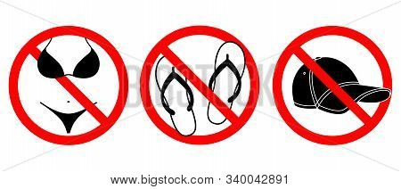 Bikini, Open Footwear And Caps Prohibited Icons Set.  No Bikini, Open Footwear And Caps Symbols Isol