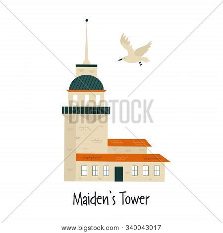 Vector Illustration Of Maidens Tower In Istanbul