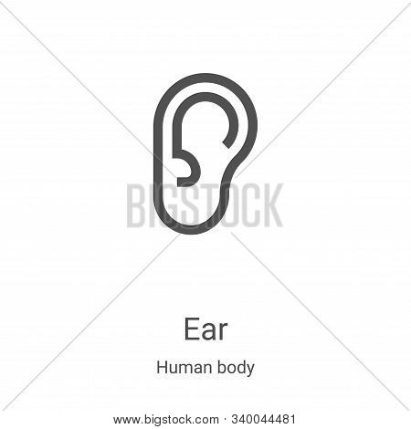ear icon isolated on white background from human body collection. ear icon trendy and modern ear sym