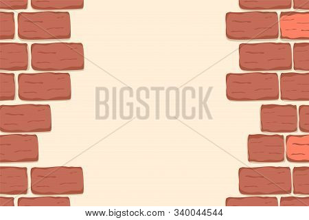 Red Brick Wall Background, Frame. Textured Brown Brick Wall Pattern For Printing, Mock-up, Poster, B