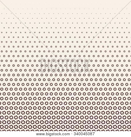 Monochrome Halftone Vector Gradient With Gears Texture. Vector Pattern With Pinion On White Backgrou