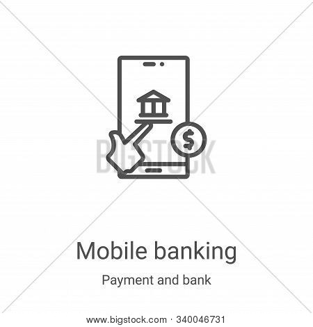 mobile banking icon isolated on white background from payment and bank collection. mobile banking ic