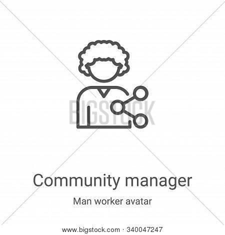 community manager icon isolated on white background from man worker avatar collection. community man