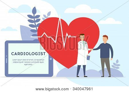 Cardiologist Concept. Doctor And Patient Are Speaking. Doctor With Stethoscope On The Big Heart Back