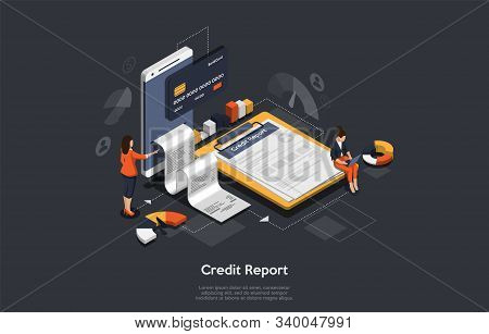Isometric Credit Report Concept. People Are Analysing Calculate Credit Report. Credit Score Calculat