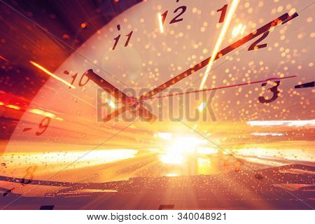 Timing Fast Speed Car Acceleration Drive Overlay With Clock Face For Background.