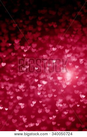 Red Background For Valentine's Day, Pink, Crimson, Bright, Pink And Red Hearts, Bokeh, Glitter, Glow