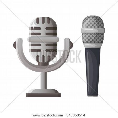Microphone And Vintage Mike Prize Vector, Award Made Of Gold Entertainment And Musical Contest Rewar