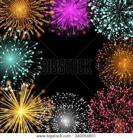 Banner With Copy Space And Fireworks. Twinkling And Shining Lights With Empty Place. Decoration With
