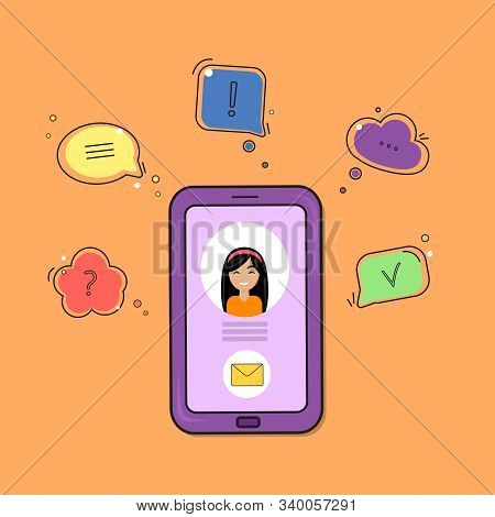 Chat Comment. Smartphone With Woman Icon And Speech Bubbles With Different Symbols. Vector Illustrat