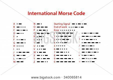 International Morse Code. Set Of  Letters, Numbers And Punctuation Signs. Vector Illustration