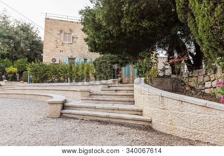 Jerusalem, Israel, December 07, 2019 : The Garden Of The Our Lady Of The Ark Of The Covenant Church