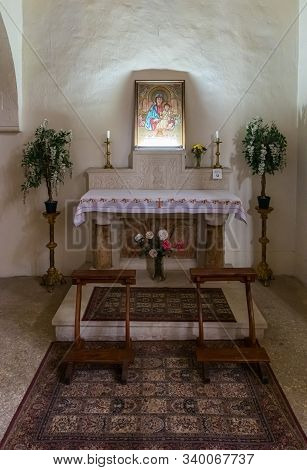 Jerusalem, Israel, December 07, 2019 : The Altar In Interior Of The Our Lady Of The Ark Of The Coven