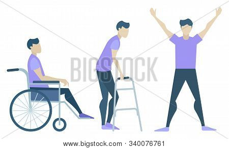 Handicapped Character, Recovery And Rehabilitation Stages Isolated Icons Vector. Disabled Man In Whe