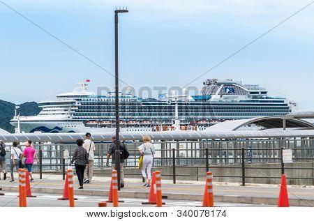 Diamond Princess Cruise Ship Is Docking In Toba Island, Japan.