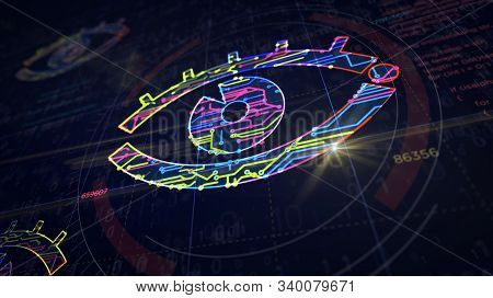 Cyber Spying With Eye Symbol Project Creating. Abstract Concept Of Surveillance, Cyber Spying, Hacki