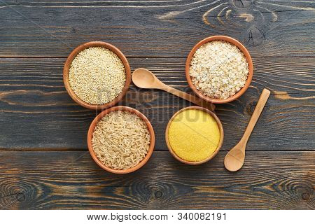 Set Of Groats For Gluten-free Fodmap Diet, Long Carbohydrates, Brown Rice, Corn, Quinoa, Oats. Mix O