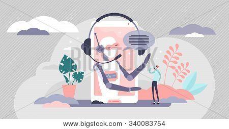 Assistant Business Robot Automation, Vector Illustration Concept. Flat Tiny Person Client Communicat