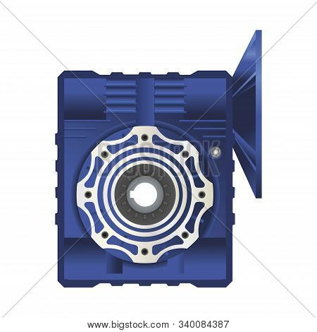 Worm Gearbox With Flange. Vector Illustration On White Background. Isolated Image.