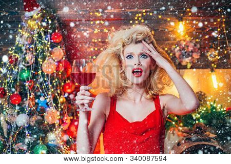 Christmas And New Year Holidays. Nervous, Thrilled And Scared Emotions. Surprised Christmas Couple.