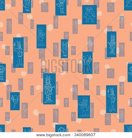 Vector Peach Polka Dots Anthropomorphic Characters In Fun Shadowed Rectanglar Shapes Seamless Patter