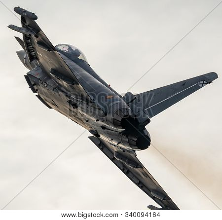 Torre Del Mar, Malaga, Spain-jul 12: Aircraft Eurofighter Typhoon C-16 Taking Part In A Exhibition O