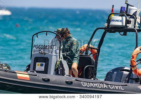 Torre Del Mar, Malaga, Spain-jul 14: Guardia Civil Coast Guard Patrol Taking Part In A Exhibition On
